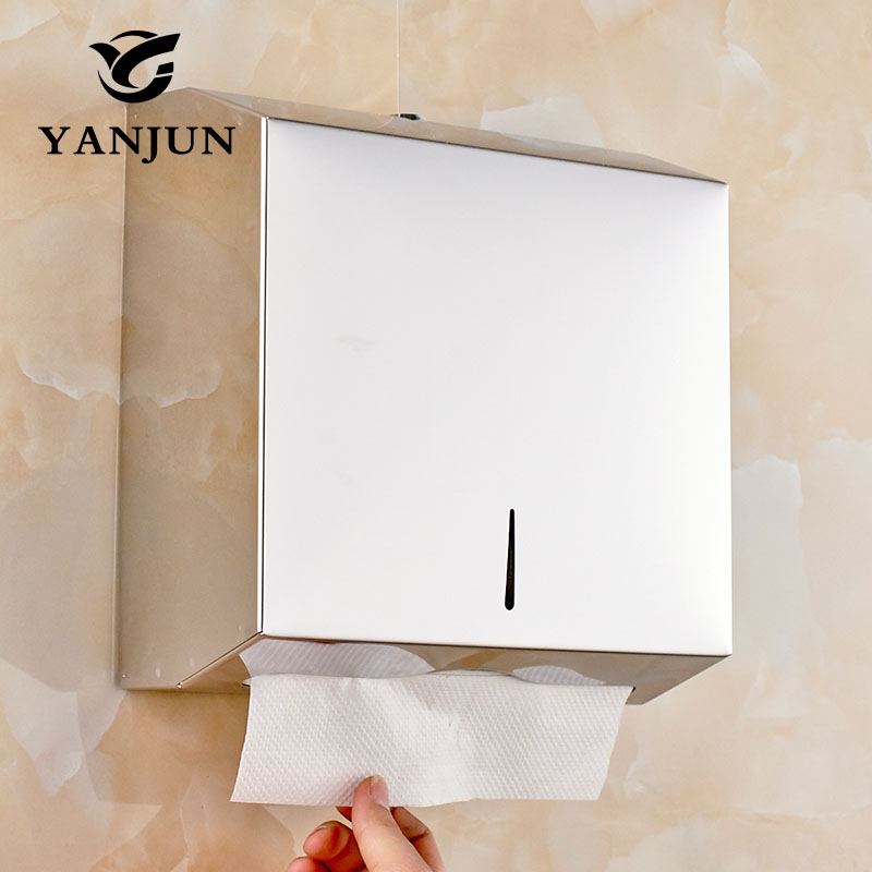 Yanjun Wall Mount Stainless Steel Single Fold Multi Fold  C-Fold Tissue D Paper Towel Dispenser Polish Finished  YJ-8671