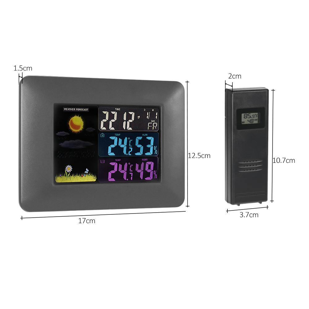 Wireless Weather Forecast Clock Digital Colorful LCD Indoor Outdoor Thermometer Hygrometer Alarm Snooze Calendar Function