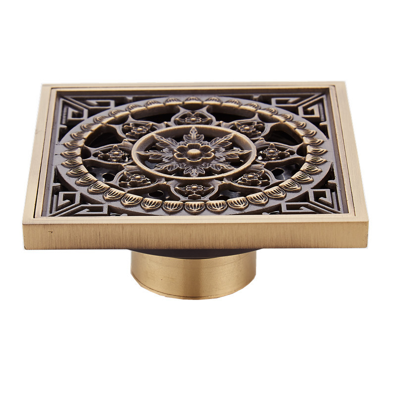 Wholesale And Retail Promotiom Euro Style Antique Brass Flower Carved Art Drain Bathroom Shower Waste Drainer
