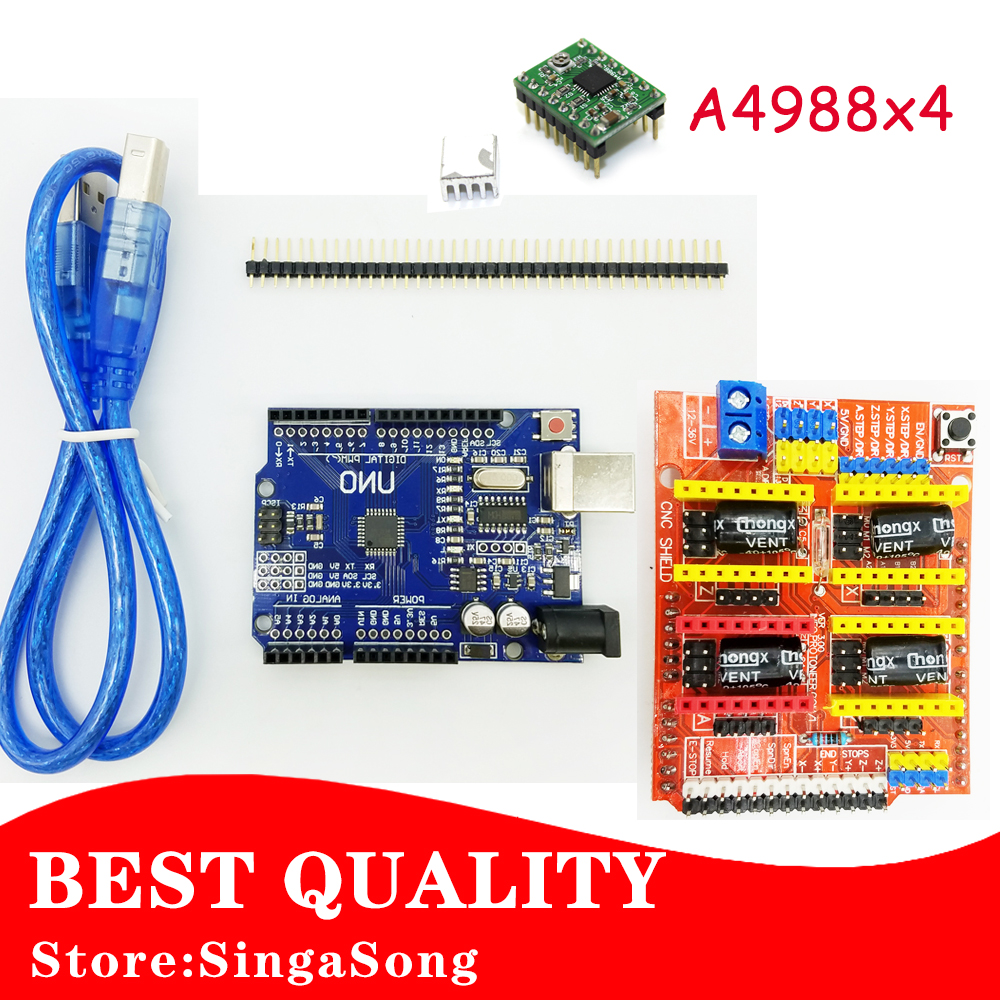 CNC Shield V3.0 + UNO R3 + 4pcs A4988 Driver motor module /GRBL for Arduino 3D Printer TE623