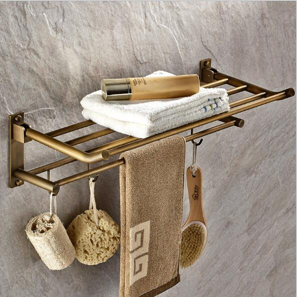 High Quality Wall Mounted 50 cm Towel Rack Antique Towel Holder Copper Bathroom Accessories Towel Rail Holder Towel Shelf