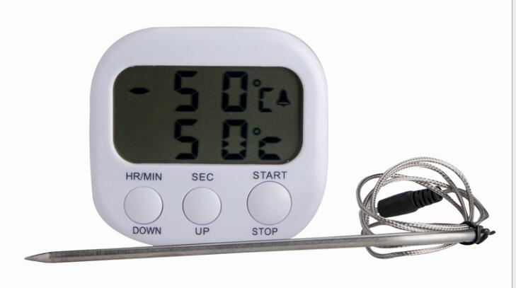 TA286 LCD -50C-300C Food Thermometer Alarm Timing Timer White Digital Cooking Kitchen BBQ Temperature Meter With Steel Sensor