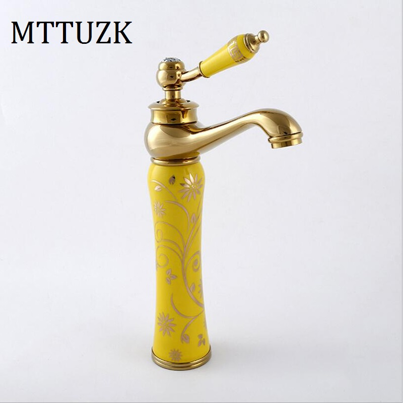 MTTUZK European antique hot and cold faucet ceramic basin faucet gold - plated art basin mixer tap rose gold faucet deck mounted