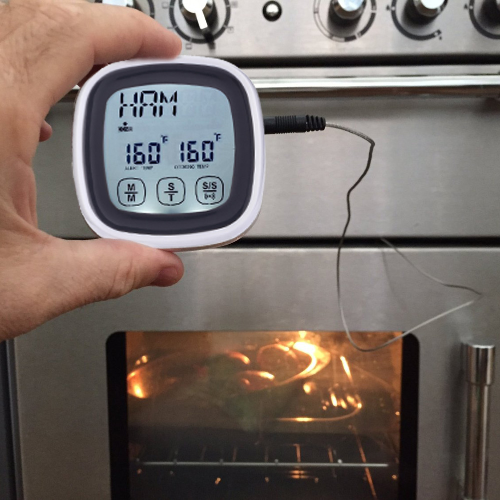 Mini LCD Kitchen Timer Digital Meat Cooking Thermometer with Probe Timing Alarm termometro digital thermometre