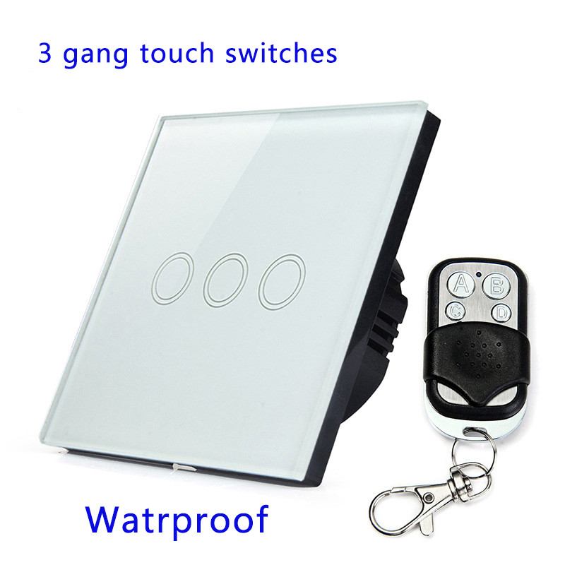 Remote Control Touch Switches Panel Light Wall waterproof crystal glass 3 Gang 1 Way 433MHz.EU/UK standard