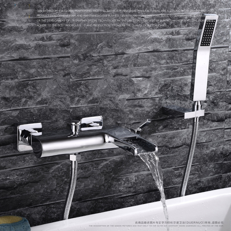 Bathroom chrome Wall Mounted Faucet Bath Tub Mixer Tap With Hand Shower Head Shower Faucet hot and cold waterfall brass torneira