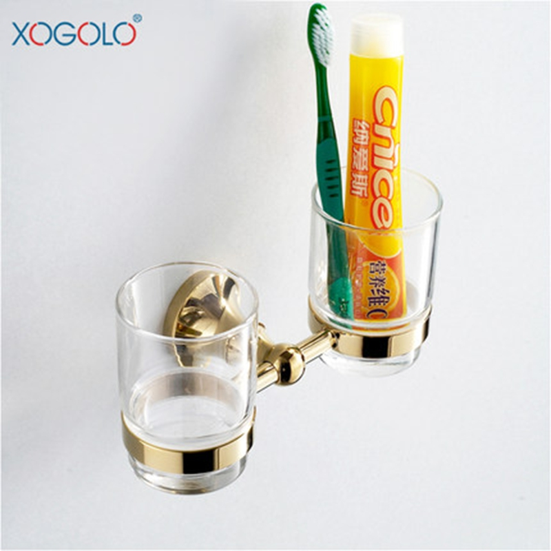 Xogolo Fashion Solid Copper Double Cup Holder Wholesale And Retail Gold Color Tooshbrush Holder Bathroom Accessories