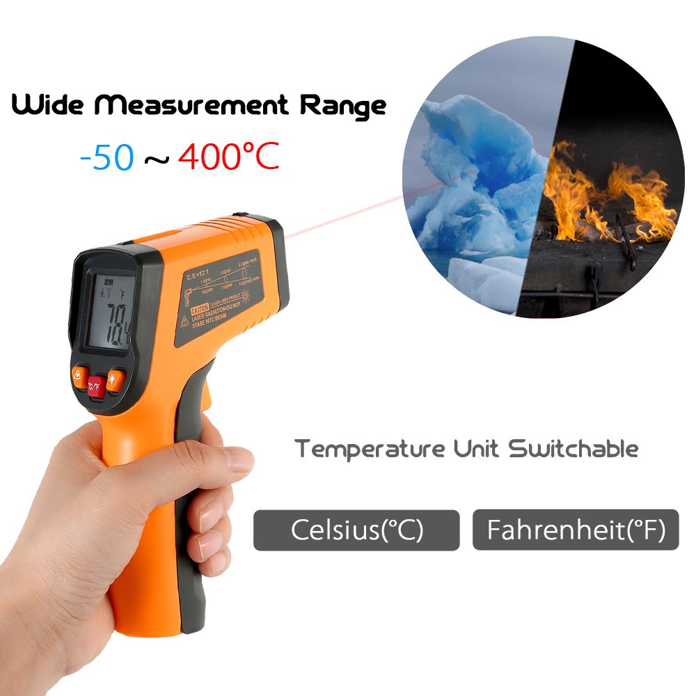 Meterk Digital LCD Non-contact IR Infrared Thermometer Temperature Measurement Pyrometer -50~400C/ -50~600C optional