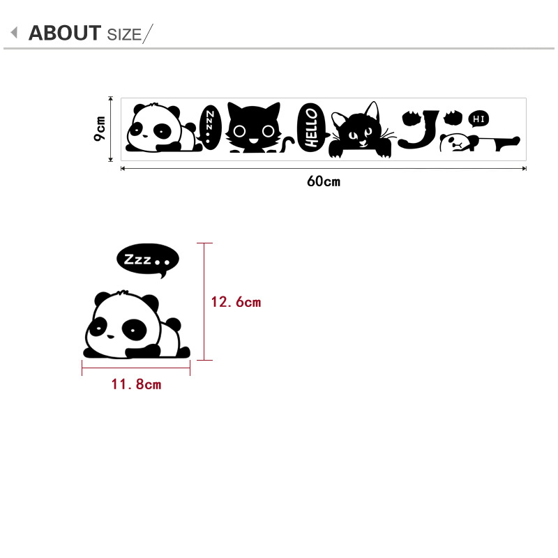 Creative 1 Set of 4pcs Cartoon cats panda Removable Cute animals Switch Wall Sticker Vinyl background Home Decor Decal