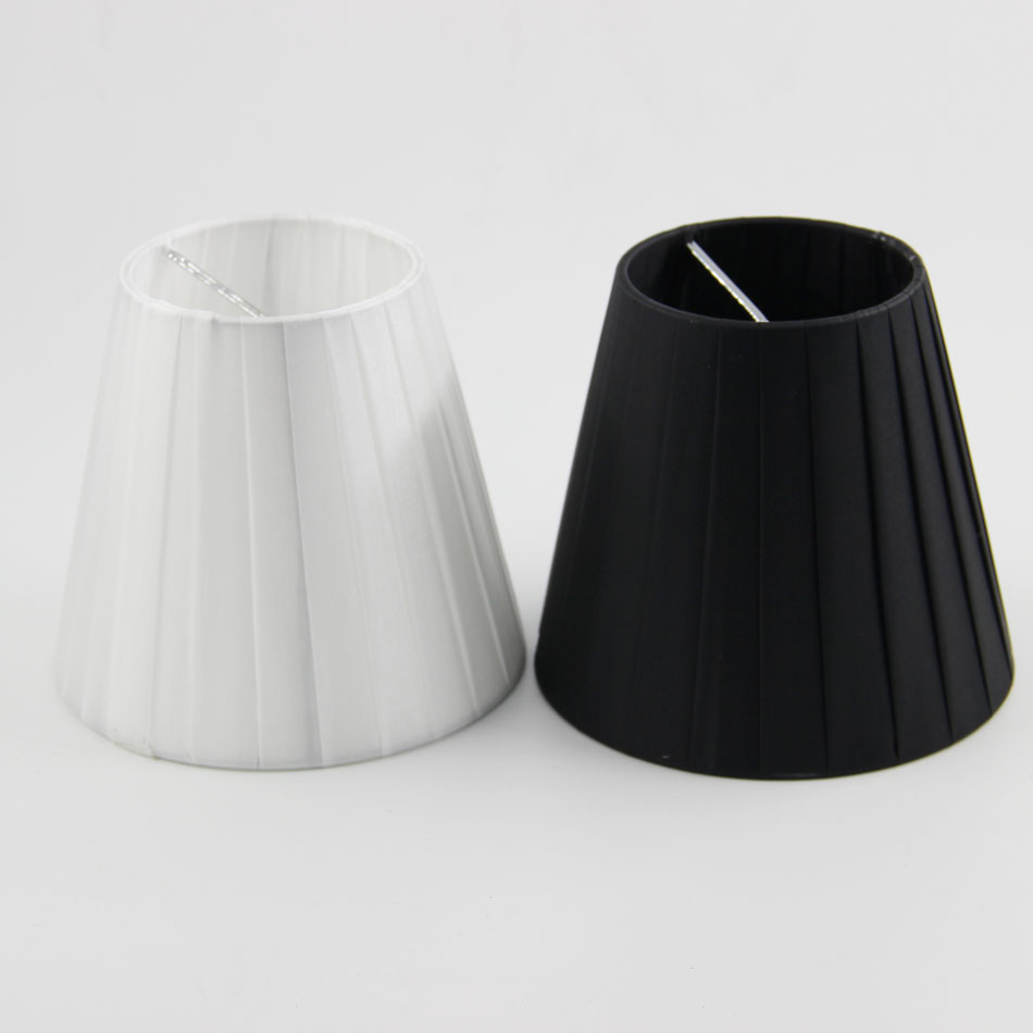 DIA 13cm/ 5.12 inch Home Collection Chandelier Lamp Shade,Cool White Color/Black Color,Side Pleat Fabric,Clip On