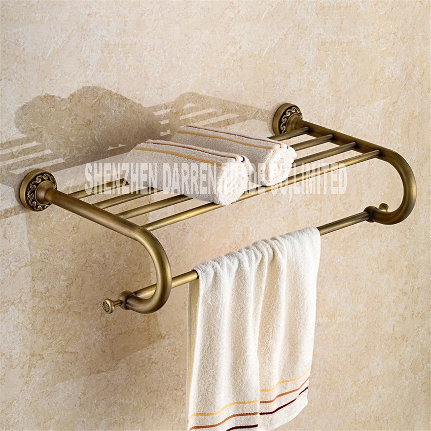 New Fashion European-style Antique Brass Towel Rack Shelf Bathroom Accessories Luxury Bath Towel Pendant Retro Towel Rack Hot