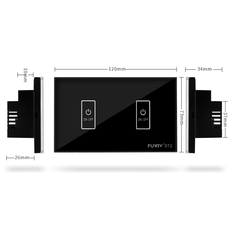 Funry ST2 US  Standard 2Gang Crystal Glass Panel Remote Control Touch Switch Surface Waterproof Luxury Panel LED Touch Switch