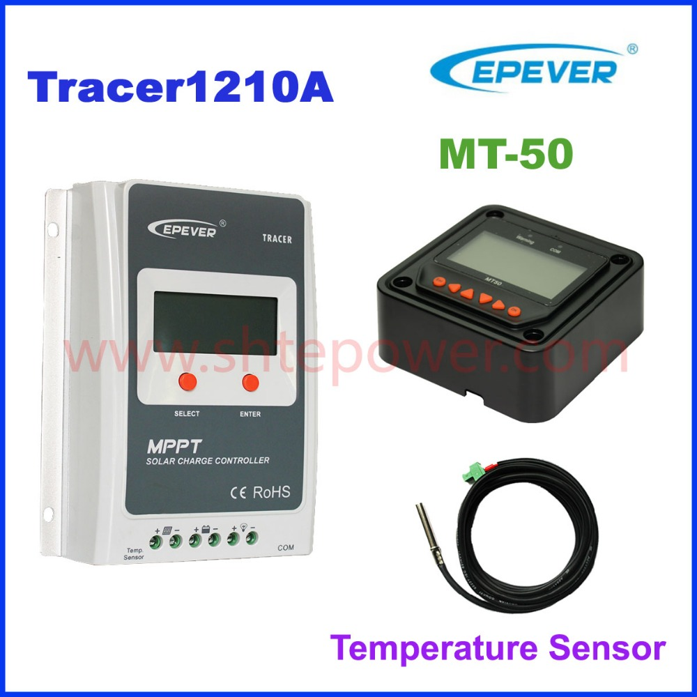 Tracer1210A 10A 12V/24V 100V MPPT solar controller with MT50 remote meter and temperature sensor