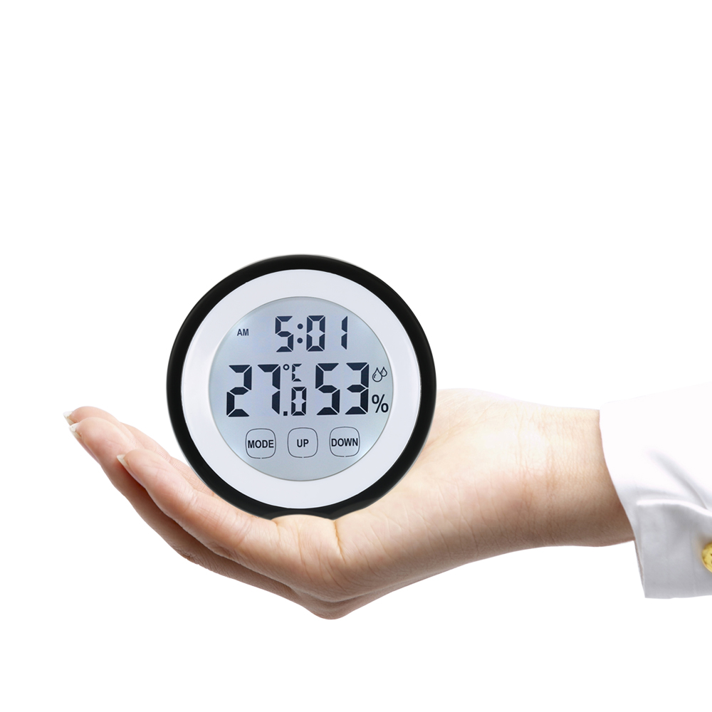 New Arrival Digital Thermometer Hygrometer temperature gauge Humidity Meter Alarm weather station Clock wall Touch Key C/F