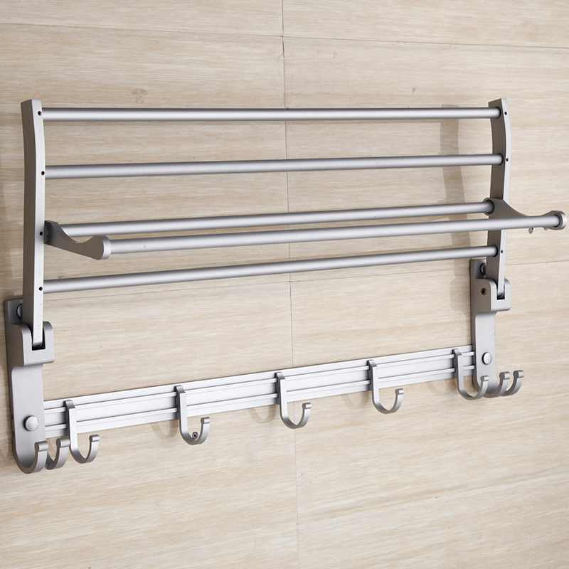 Brief Silver/Golden Towel Rack With Hooks of Space Aluminum Bathroom Accessories Decorative Wall Movable Bath Towel Holder