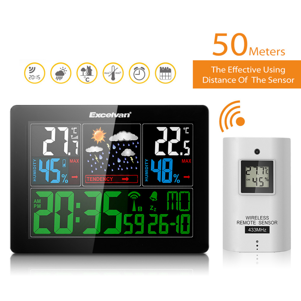 EXCELVAN COLOR Wireless Weather Station With Forecast Temperature Humidity EU Plug Alarm and Snooze Thermometer Hygrometer Clock