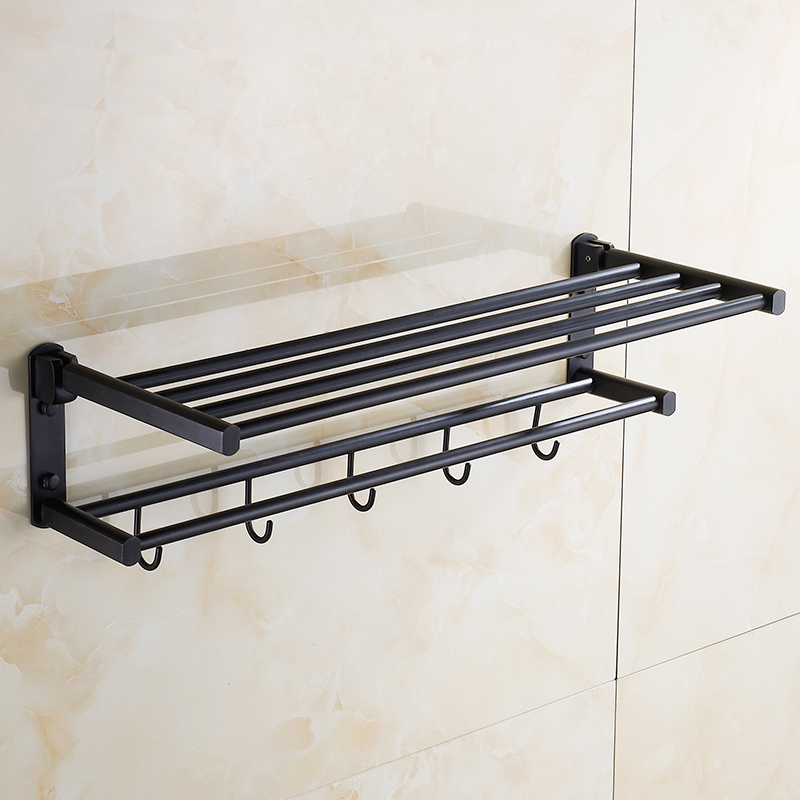 60cm  towel rack shelf with hooks wall mounted, Oil Rubbed Bronze towel rack black, Copper brushed wall bathroom shelves