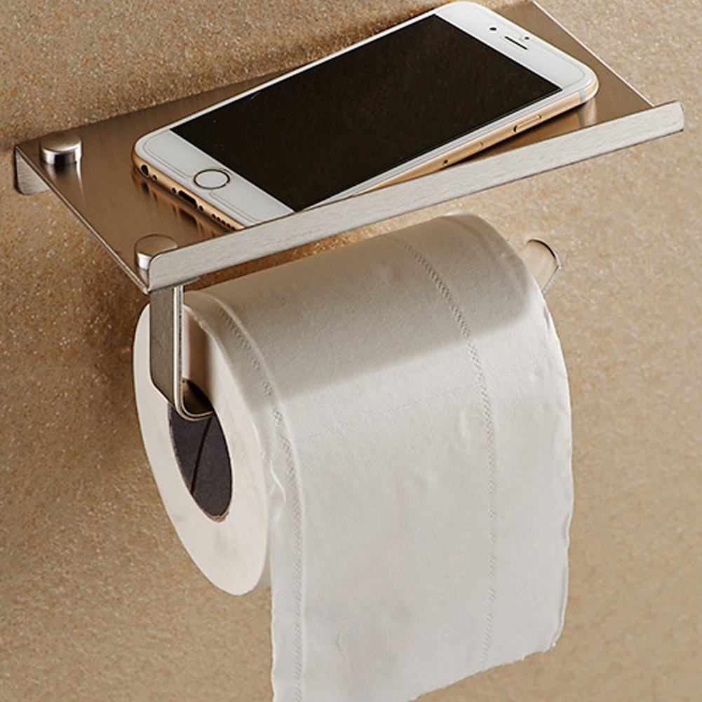 1 pc Stainless Steel Bathroom Paper Phone Holder with Shelf Bathroom Phone Towel Rack Toilet Paper Holder Tissue Boxes
