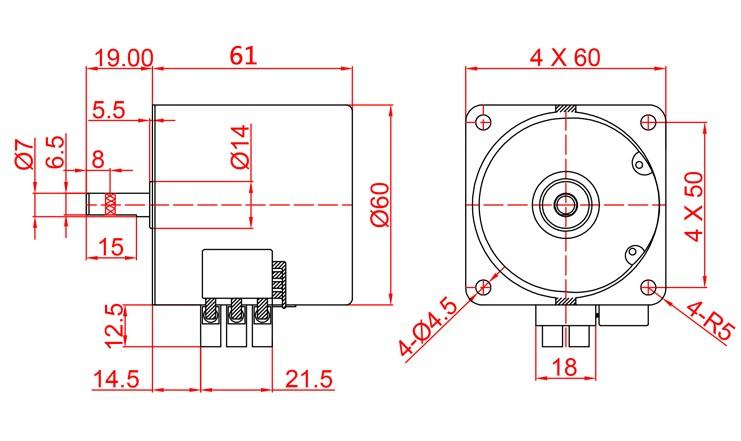60KTYZ AC motor 220V motor micro slow speed machine 14W 1rpm ...