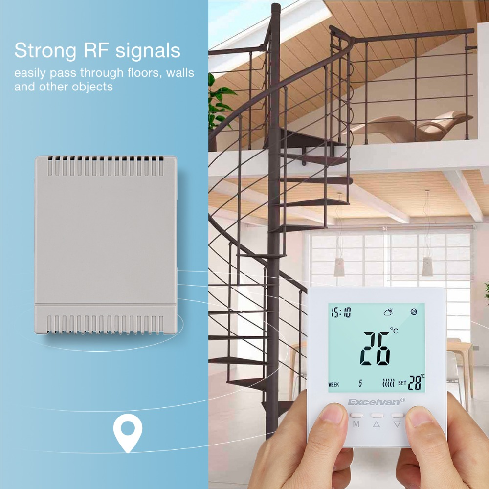 Excelvan RW7000 Thermostat Wireless Heating Thermostat Green LCD Display Floor Heating Thermostat Keypad locking
