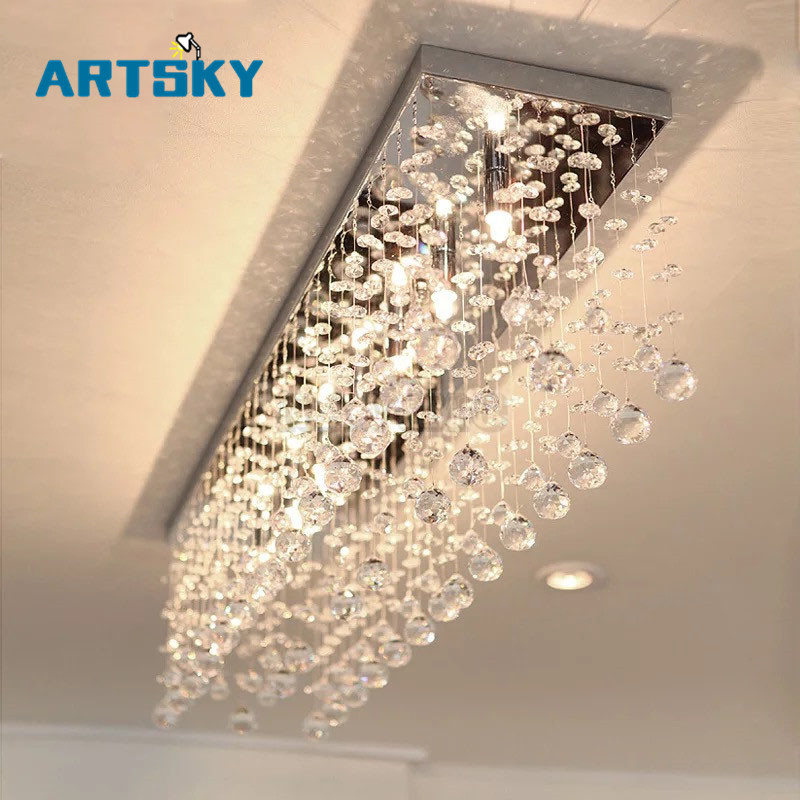 Contemporary LED Luster Crystal Chandelier Interior Curtain Wave Lighting Fixture Wrought Iron Foyer Chandelier Bathroom Lamp