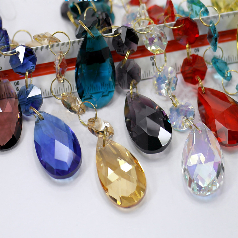 Top quality 22x92mm 10pcs/lot Champagne Glass Crystal Chandelier Pendant Prism+ two pieces 14mm Crystal octagon Beads
