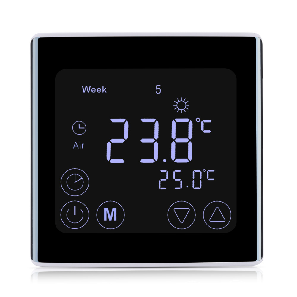 Floureon LCD Touch Screen Room Temperature Controller Thermostat White Backlight Weekly Programmable Underfloor Heating Thermost