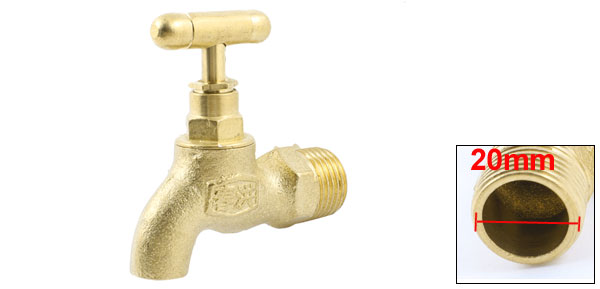 "UXCELL Garden Kitchen Turn Handle Brass Tone 1/2"" Pt Male Thread Water Faucet Tap faucet"