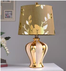 Ceramic lamp. Bedroom bedside lamp. Gold Chinese lamp