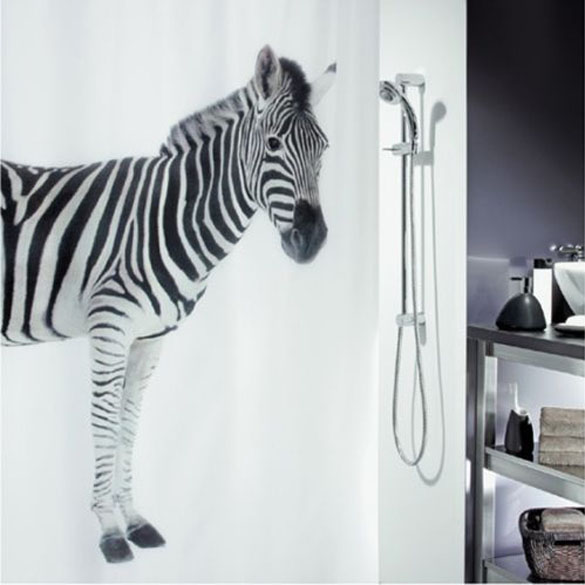 High Quality 180*180cm Zebra Art Style Waterproof Fabric Bathroom Shower Curtain With Hooks