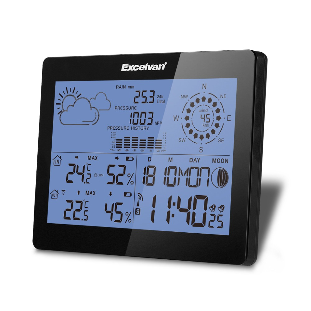 EXCELVAN Wireless Weather Station with Wind Speed & Rain, Temperature, Humidity, Barometer, Moon Phase