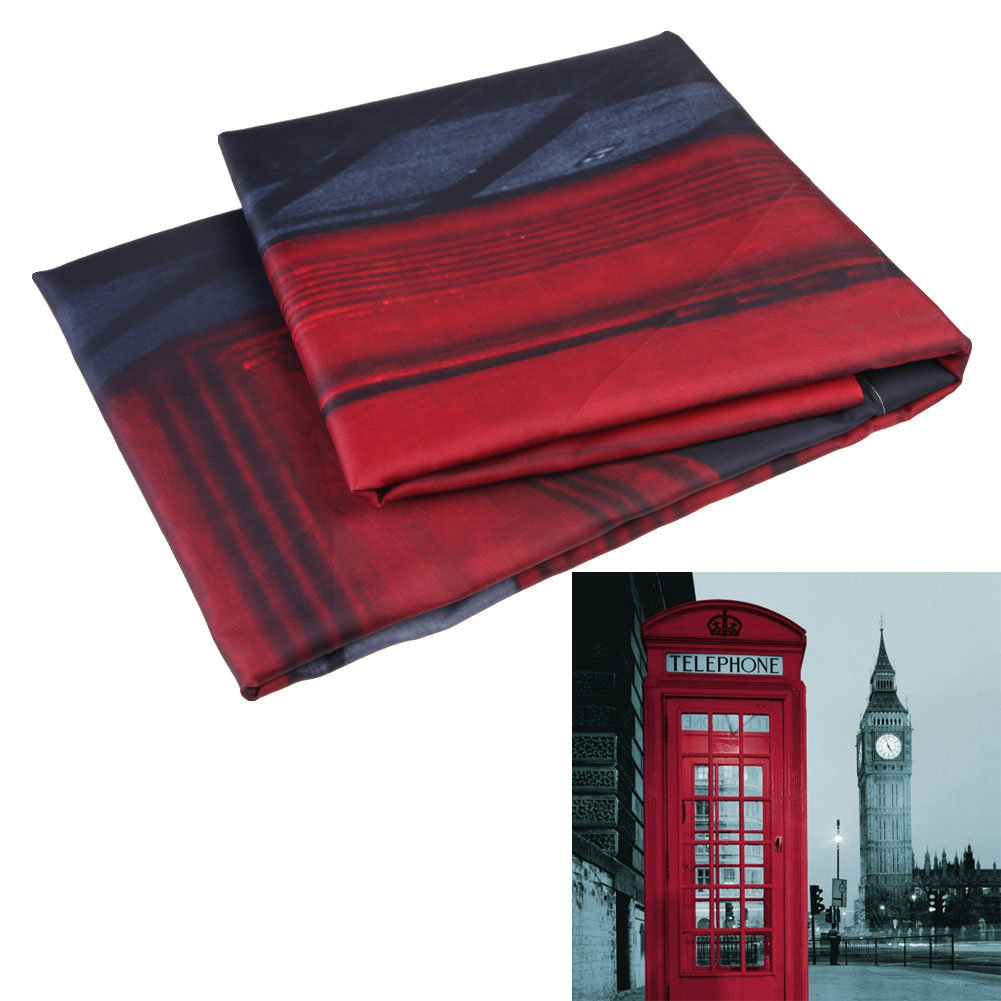 Brand New 180x180cm London Style Waterproof Fabric Bathroom Shower Curtain With 12pcs Curtain Hooks