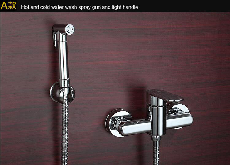 Copper cold and hot water bidet faucet valve,4 Types bidet spray shower nozzle,Bathroom wall mounted toilet flushing device suit