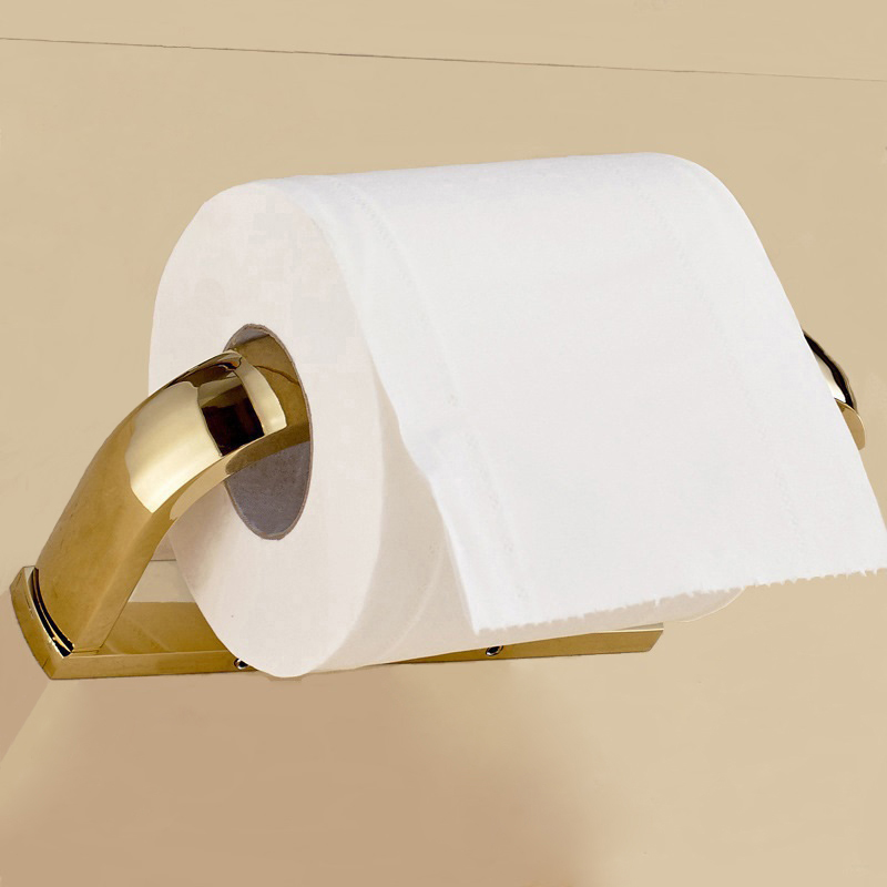 Retail Promotion Luxury Toilet Paper Holder Gold Plating Paper Towel Holder Wall Paper Roll Holder Tissue Holder Bathroom Goods