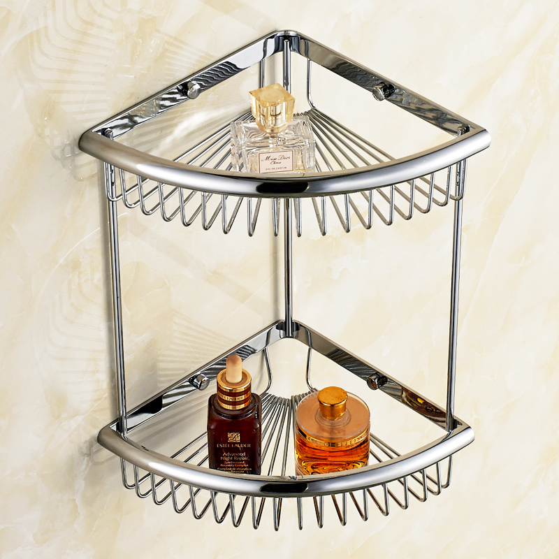 Solid Brass Chrome Bathroom Shelf Bathroom Accessories Corner Shelf Stand