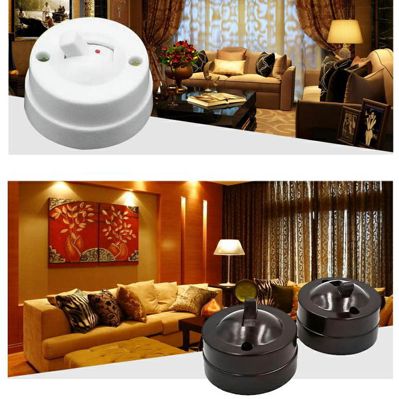 5pcs Retro Style Toggle Switch Table Lamp Switch Pull-type Control On/off,Flat Mounted Switch Round White 6A250V
