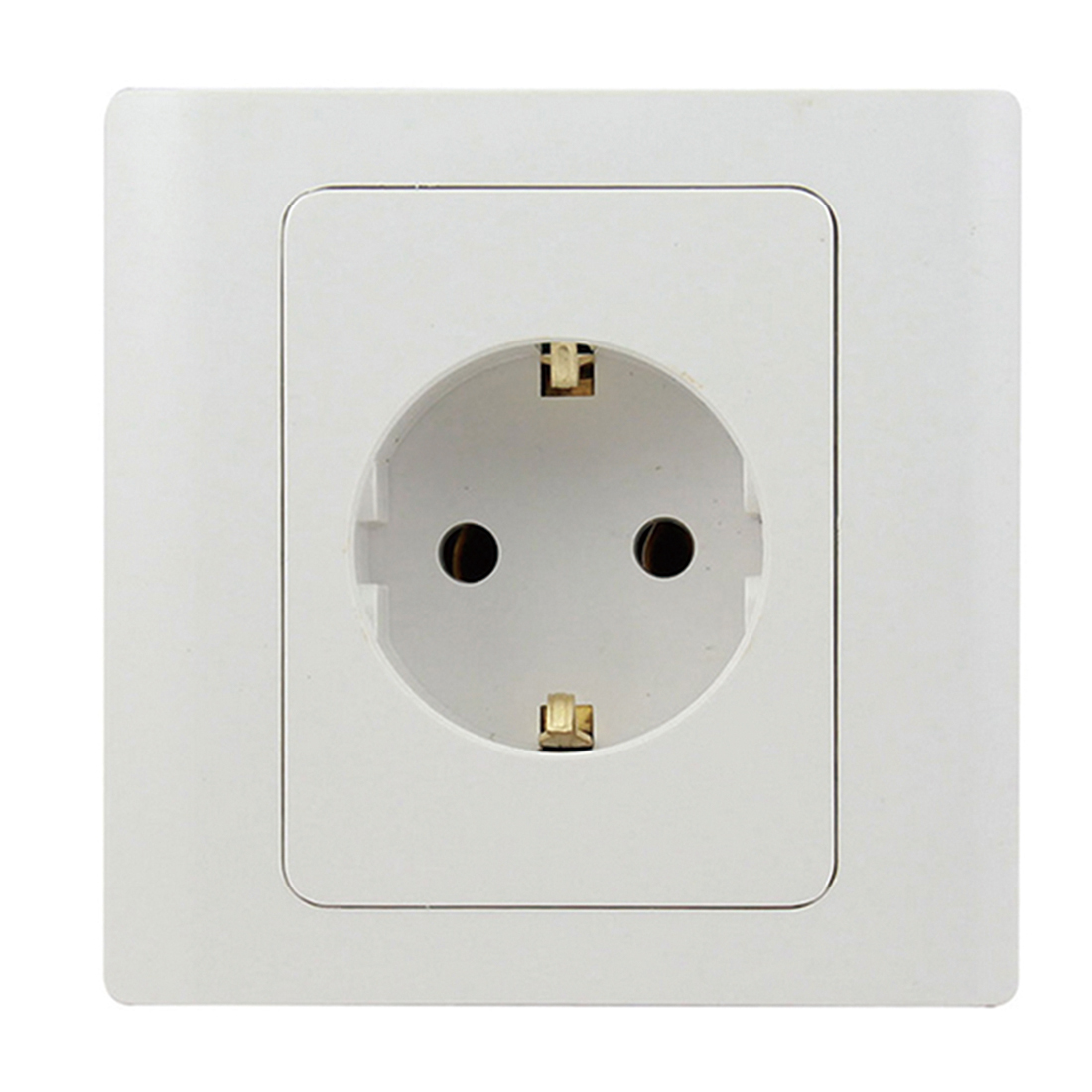EU Standard Power Socket White Crystal Glass Panel AC 110~250V 16A Wall Power Socket