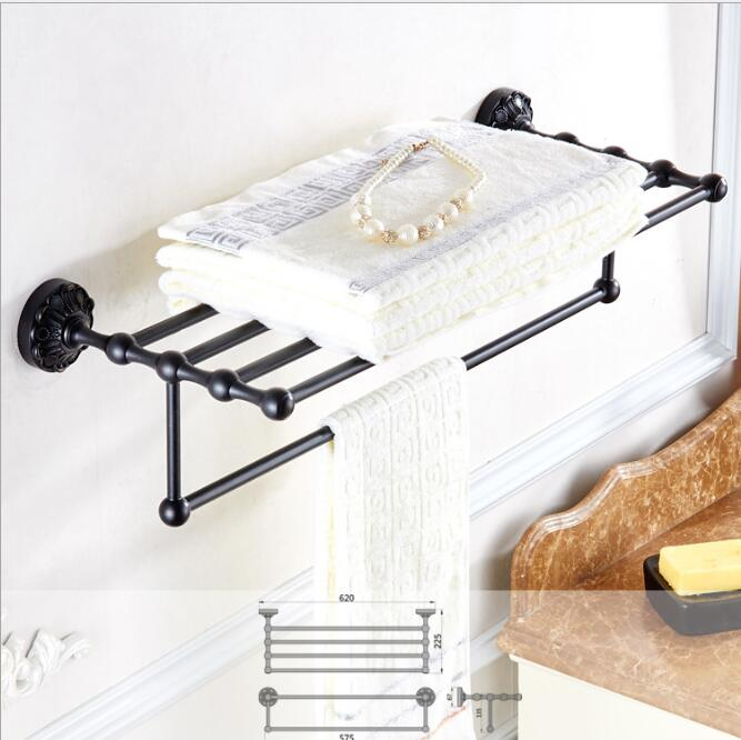 New Towel Rack Luxury Bathroom Accessories Antique black Oil brushed Fixed Bath Towel Holder Shelves Towel Bar Bath Towel hanger
