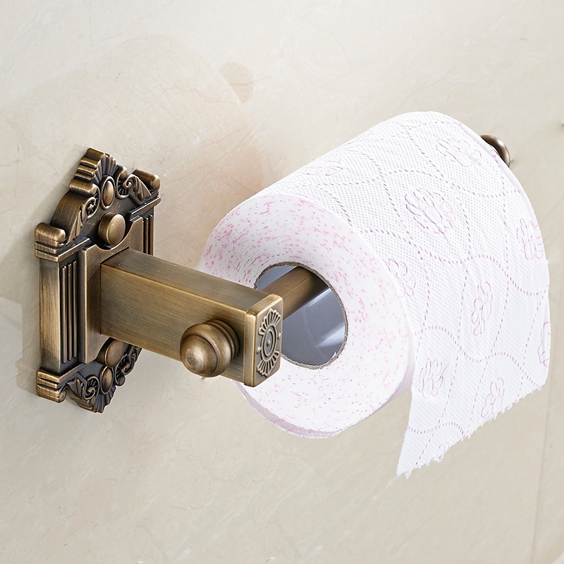 MTTUZK Antique Brass Brushed Wall Mount Bathroom Roll Paper Hanging Toilet Paper Holder Toilet Roll Holder Bathroom Accessories