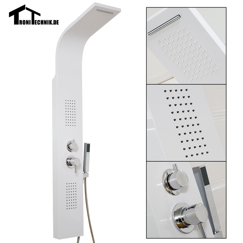 Curved Bathroom White Shower Panel Waterfall Body Jets Hand Held Massage System Faucet Jets Hand Shower Tower Column 1057