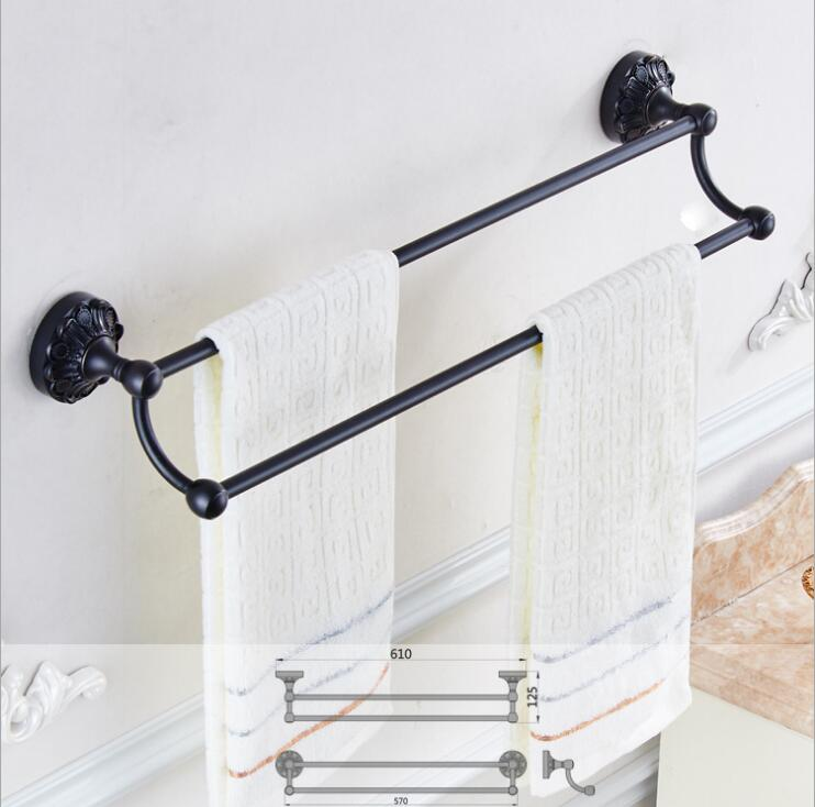 24 inch Double Towel Bar,Towel Holder, Black Oil Brushed Towel rack Solid Brass ,Antique Bathroom Accessories luxury towel rail