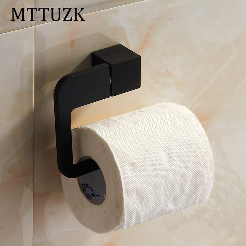 MTTUZK black/chrome Stainless steel paper towel rack bathroom paper holder roll Holder no cover tissue holder toilet accessories