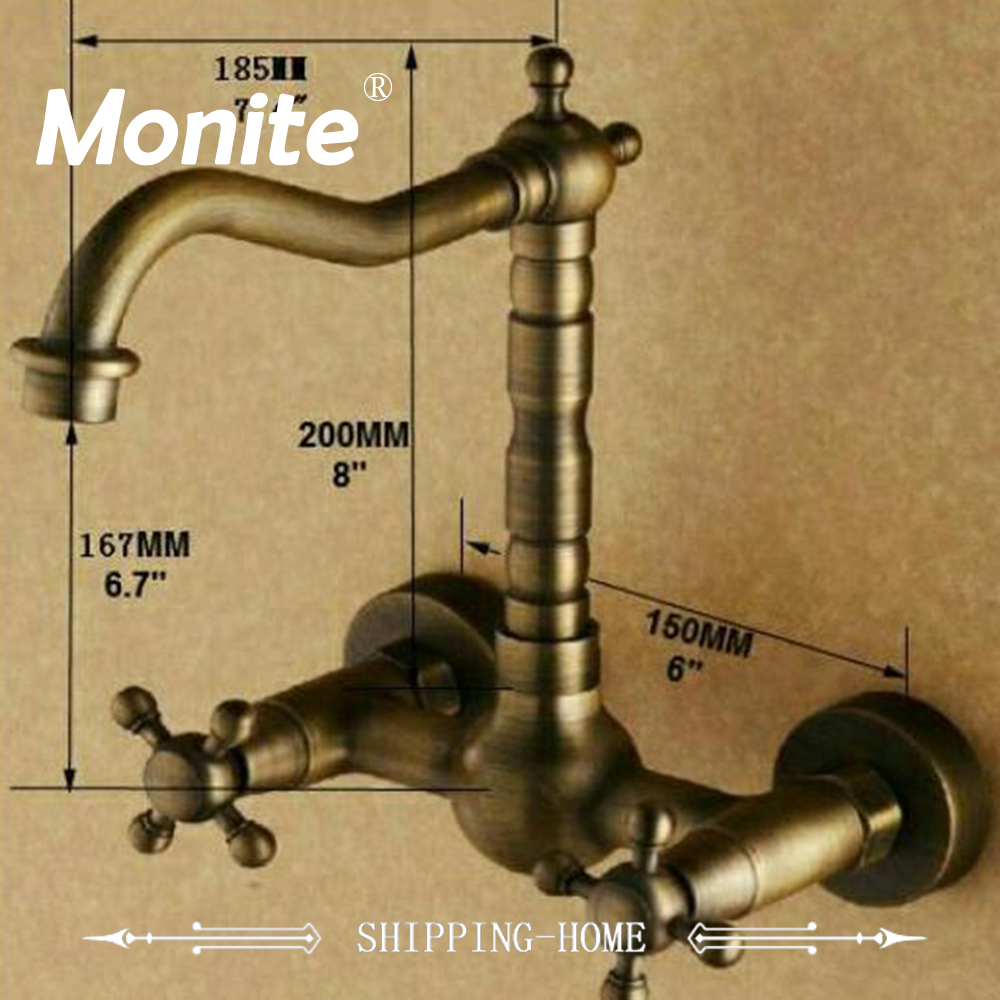 Wall Mounted Antique Bronze finish Stream Spout Bathroom Faucet Two Handles basin mixer tap Hot & Cold Water Mixer