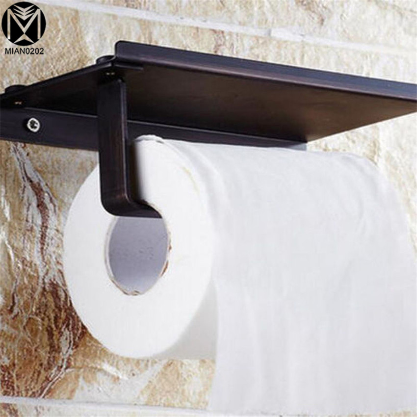 Paper Holder Classic Simple style Stainless Steel Matte Black Finish Wall Mounted Toilet Paper Holder Bathroom Accessories