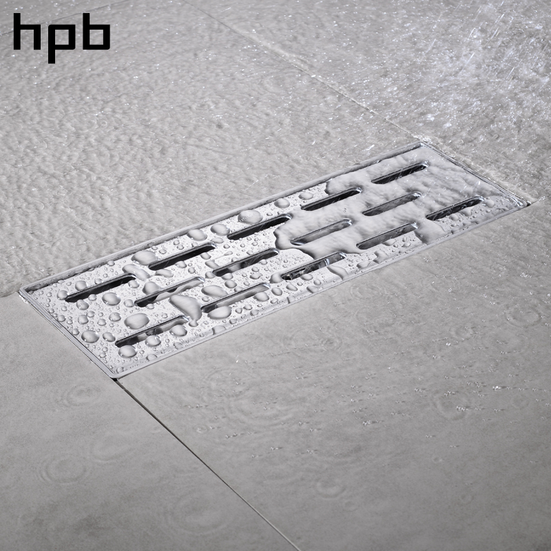 HPB 30 x 10cm Square Floor Drain Stainless Steel 304 Anti-odor Floor Drain Bathroom Invisible Shower Long Drainer HP7913