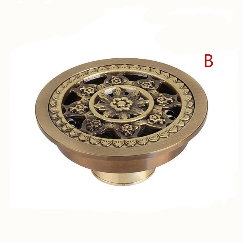 4' Antique Brass Brushed Finished Floor Drain Bathroom 10cm Shower Drain Bathroom Waste Grate Round Drain