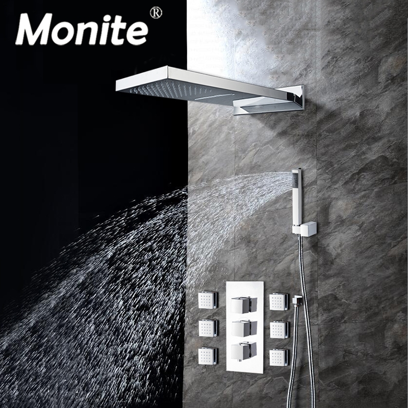 Chrome Polished Bathroom Head Shower Hand Shower Set Faucet 6pcs Body Massage Spray Jets Tap