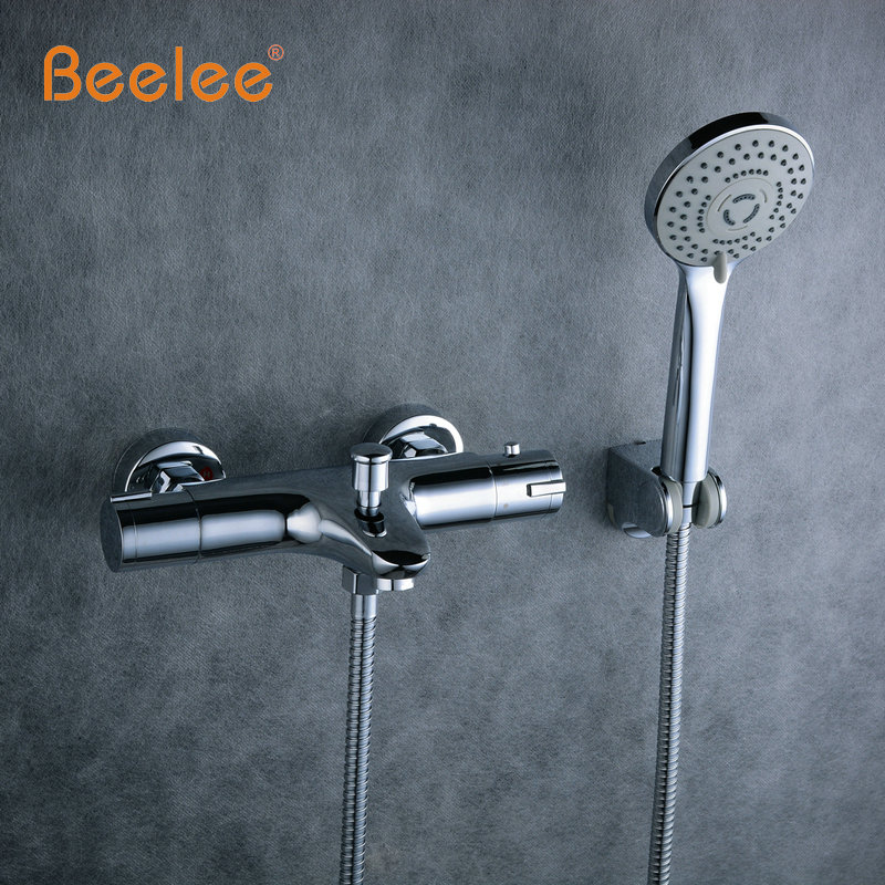 Beelee High Quality Chrome Wall Mounted Bathroom Thermostatic Faucet,Thermostatic Valve Bathroom Shower Faucet,Bathtub Faucet