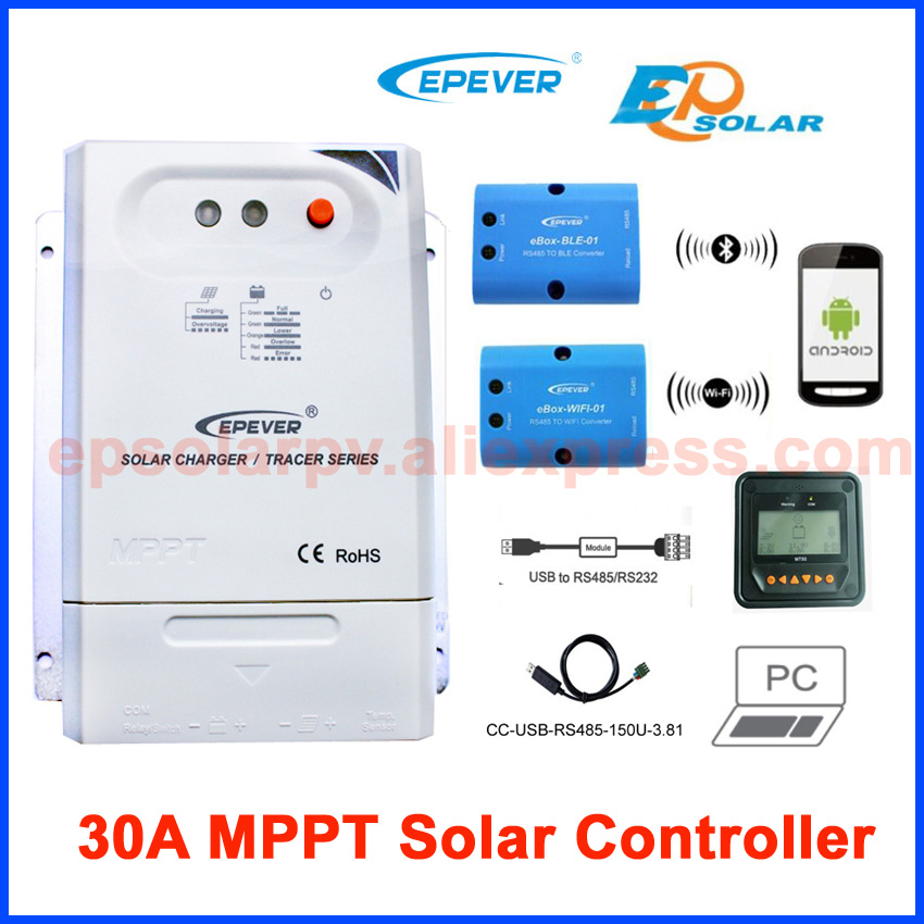 Tracer3210CN 30A MPPT solar charge controller 12v 24v EPEVER Regulator with MT50 WIFI Bluetooth PC Communication Mobile APP