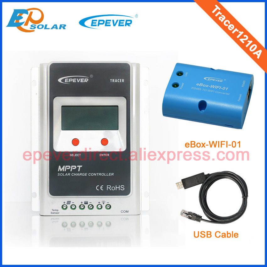 EPsolar MPPT solar controller with wifi function and USB Tracer1210A 10A 12V/24V auto work